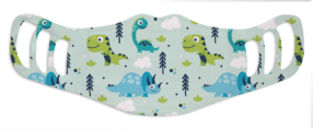 A washable and reusable polyester happy dinosaurs printed cloth face mask for kids, with three ear holes by each side